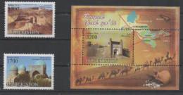 UZBEKISTAN, 2016, MNH, GREAT SILK WAY, CAMELS, FORTS, COINS, MAPS, 2v+S/SHEET - History