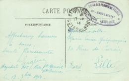 Cachet 1914 Union Des Femmes De France St Brieuc Hopital Ambulance 302 Rue Saint Benoit Sur Cpa La Rue Houvenagle - Storia Postale