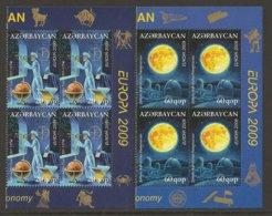 """AZERBAIJAN /ASERBAIDSCHAN / AZERBAYCAN - EUROPA 2009  - TEMA  """"ASTRONOMIA"""" - SERIE De 2 V En BLOQUE De 4. - Europa-CEPT"""