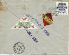 La Coruña A Francia 1938, Por Certificado, Locales, Al Dorso Llegada. Censura. Guerre D'Espagne Ver 2 Scan - Emissions Nationalistes