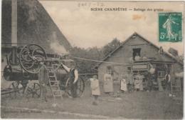 CPA  27 SCENE CHAMPETRE BATTAGE DU GRAINS - France
