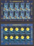 """AZERBAIJAN /ASERBAIDSCHAN / AZERBAYCAN - EUROPA 2009  - TEMA  """"ASTRONOMIA"""" - SERIE De 2 V En DOS HOJAS BLOQUE De 10 - Europa-CEPT"""