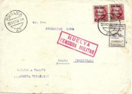 Huelva A Portugal 1937, Locales De Málaga, Al Dorso Llegada.censura Guerre D'Espagne Ver 2 Scan - Emissions Nationalistes