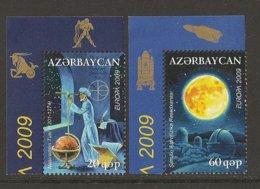 """AZERBAIJAN /ASERBAIDSCHAN / AZERBAYCAN - EUROPA 2009  - TEMA  """"ASTRONOMIA"""" - SERIE De 2 V.ESQUINA DE HOJA - Europa-CEPT"""