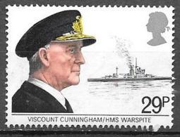 1982 29p Viscount Cunningham And H.M.S. Warspite, Used - 1952-.... (Elizabeth II)