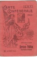 CARTE CONFÉDÉRALE De La C.G.T.   1934 - Politica
