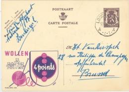 Publibel 826 Wolle Bären - Londerzeel - Staubfrei - Englischer Faden - Farbfest - Geht Nicht Ein - Textil 1949 - Entiers Postaux