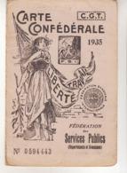 CARTE CONFÉDÉRALE De La C.G.T.   1935 - Politica