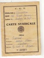 CARTE  SYNDICALE  C.G.T.   1944 - Politica