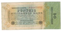 Germany, 50 Milliarden Mark (1924) , P-119. VG/F. - [ 3] 1918-1933 : Weimar Republic