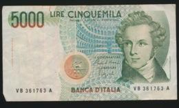 5000 LIRE - [ 2] 1946-… : Repubblica