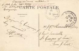 Cachet Tireté St Georges Sur Eure 1914 Sur Cpa Guingamp Caserne La Tour D' Auvergne - Storia Postale
