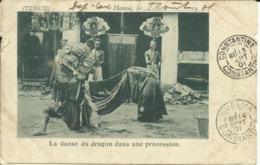 TONKIN , Hanoï , La Danse Du Dragon Dans Une Procession , CPA ANIMEE , 1901 - Viêt-Nam