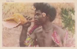 Fiji Native Man Blows Conch Shell, Flowers, South Seas Pacific Oceania, C1940s(?) Vintage Postcard - Figi