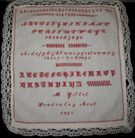 Abécédaire Point De Croix 1891 Belgian Needle Work Cross-stitch Sampler - Ouvrage écolière - M. Gillet - Landen - 4 Scan - Vintage Clothes & Linen