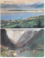 Norway - Two German Postcard: Molde And Nærøyfjord, Gudvangen - 1911 And 1916 - Noruega