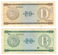 Cuba 20 Pesos Foreign Exch. Cert. B & D, Lot Of 2 Banknotes. Used,  SEE SCAN - Cuba