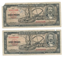 Cuba 10 Pesos, 1956. Lot Of 2 Banknotes. Used,  SEE SCAN - Cuba