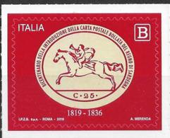"""2019 Italien Mi. 4087**MNH 200. Jahrestag Der Einführung Des Wertstempels """"25 C. Postreiter (Cavallini)"""" Im Königreic - 6. 1946-.. República"""