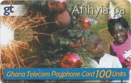 Ghana - Ghana Telecom - Christmas - 11.2005, 100U, Chip AX03, 200.000ex, Used - Ghana
