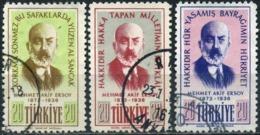 Turkey 1956 - Mi. 1509-11 O, Poet Mehmet Akif Ersoy - 1921-... République