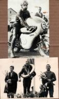 2 Photos Originales Motocyclisme Et Compétition Sur Moto Honda 63 Vers 1950/60 - Pilote & Podium - D. Lob Leipzig. - Ciclismo