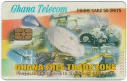 Ghana - Ghana Telecom - Free Trade Zone (Transparent Issue), 01.2002, 50U, 100.000ex, Used - Ghana