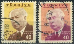 Turkey 1957 - Mi. 1516-17 O, State Visit By Theodor Heuss   T. Heuss (1884-1963), First German Federal President - 1921-... République