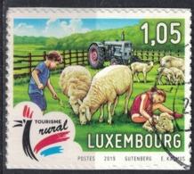 Luxembourg 2019 Oblitéré Used Tourisme Rural Pâturage Tracteur Enfants Moutons SU - Gebruikt