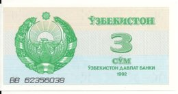 OUZBEKISTAN 3 SUM 1992 UNC P 62 - Ouzbékistan