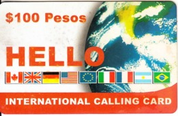 MEXICO - Flags & Globe, Marcatel Prepaid Card $100(barcode On Reverse), Used - Mexico