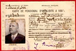 -- CARTE DE PENSIONNE D'INVALIDITE A 100%  /Seine & Oise -- - Documents