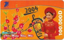 Vietnam - Vinaphone - Chuc Mung Nam Moi 2004, Prepaid 100,000₫, Exp. 31.12.2005, Used - Vietnam