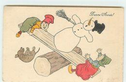 N°13470 - Bonne Année - Enfants Jouant à La Balancelle Avec Un Bonhomme De Neige Et Un Teckel - Anno Nuovo