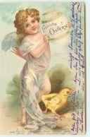 N°13494 - Fröhliche Ostern - Ange Portant Un Oeuf, Et Un Poussin - Pâques