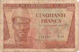 GUINEE 50 FRANCS 1958 VG+ P 6 - Guinea