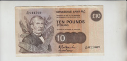 AB606 Clydesdale Bank PLC £10 Note 8th April 1985 #D/NC 011569 FREE UK P+P BUY 1 GET 1 (CHEAPEST) 1/2 PRICE BANKNOTES - [ 3] Scotland