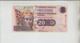 AB643 Clydesdale Bank PLC £20 Note 12th Oct 1999 #A/BE 076473 FREE UK P+P BUY 1 GET 1 (CHEAPEST) 1/2 PRICE BANKNOTES - Scozia