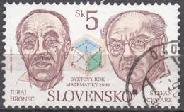Slovensko 2000 Michel 365 O Cote (2009) 0.30 Euro Mathématiciens Juraj Hronec & Stefan Schwarz Cachet Rond - Oblitérés