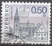 Slovensko 2000 Michel 363 O Cote (2009) 0.20 Euro Eglise Et Mairie De Bardejov Cachet Rond - Oblitérés