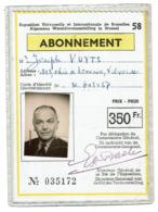 Abonnement Expo 58 - Exposition Universelle Et Internationale De Bruxelles 1958 - Joseph VUYTS - 2 Scans - Tickets D'entrée