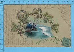 Carte Postale  Ancienne, 1908 - Decor Peint, Joyeux Noel - Other