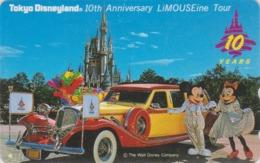 Télécarte NEUVE Japon / 110-143353 - DISNEY - DISNEYLAND 10 YEARS - Mickey Minnie Limousine - Japan MINT Phonecard - Disney