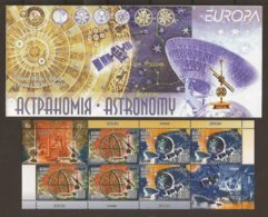 "BIELORRUSIA / BELARUS /WEISSRUSSLAD -EUROPA 2009 - TEMA ""ASTRONOMIA"" -CARNET Con HOJA BLOQUE  3 SERIES 2 V. + 2 VIÑETAS - Europa-CEPT"