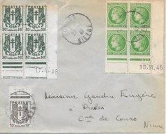Lettre Coin Daté Mazelin 19/11/45 Et Chaine  17/4/46 Cosne Nievre - Dated Corners