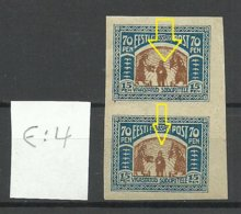 Estland Estonia 1920 Michel 22 E: 4 ERROR Variety Abart MNH/MH - Estland
