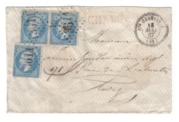 AVEYRON GC3611 /YT22 X 3 C22 STE GENEVIEVE 18 MAI 1867 CHARGE ROUGE LETTRE SANS TEXTE POUR RODEZ - 1849-1876: Classic Period