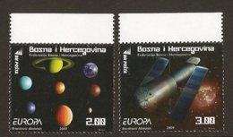 """BOSNIA I HERZEGOVINA /BOSNIA SARAJEVO - EUROPA 2009 - TEMA """"ASTRONOMIA"""" - SERIE De 2 V. DENTADOS  (PERFORATED) - Europa-CEPT"""