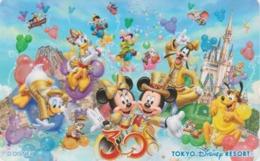 Télécarte NEUVE Japon - DISNEY RESORT - Aladdin Pinocchio Elephant Chat Cat Chip & Dale Balloon - Japan MINT Phonecard - Disney