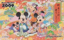 Télécarte NEUVE Japon - DISNEY RESORT - NEW YEAR 2009 - Mickey Minnie En Kimono & Chien Dog  Japan MINT Phonecard - Disney